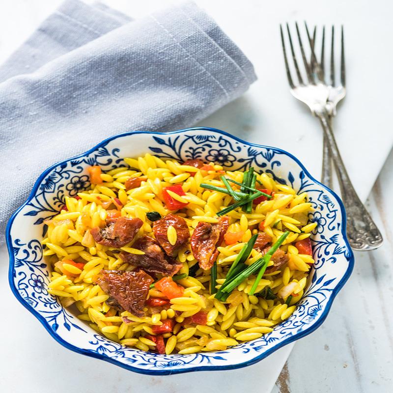 Κριθαρότο με Σαφράν, Καλοκαιρινά Λαχανικά & Κανθαρέλλες