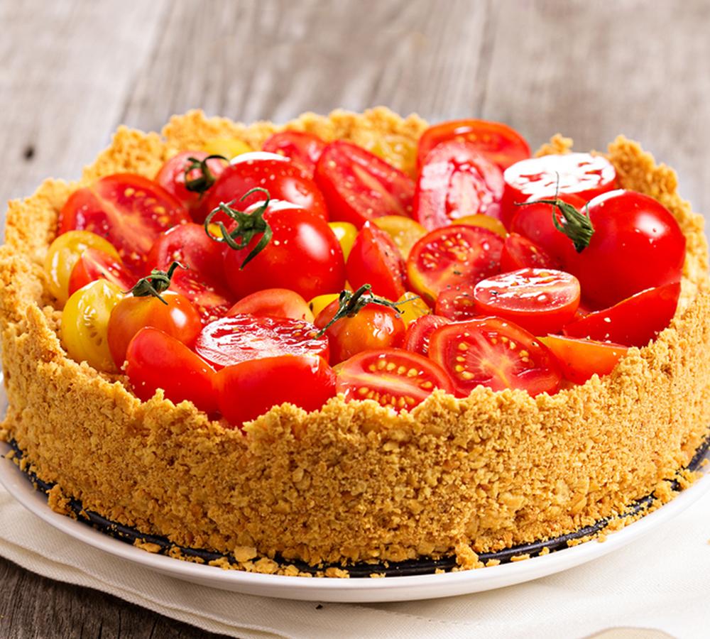 Αλμυρό Cheesecake με Ντοματίνια