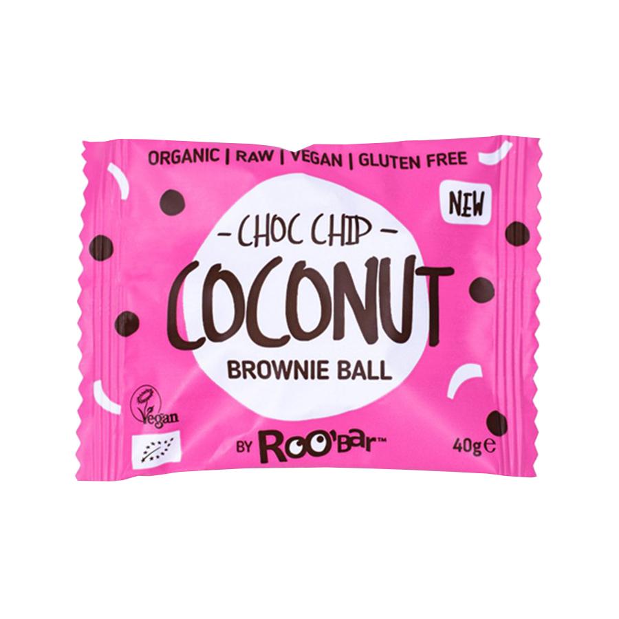 Brownie Balls | Μπάρες Καρύδας με Chips Σοκολάτας 40g | Ωμό Βιολογικό Σνακ Χωρίς Γλουτένη | Roobar