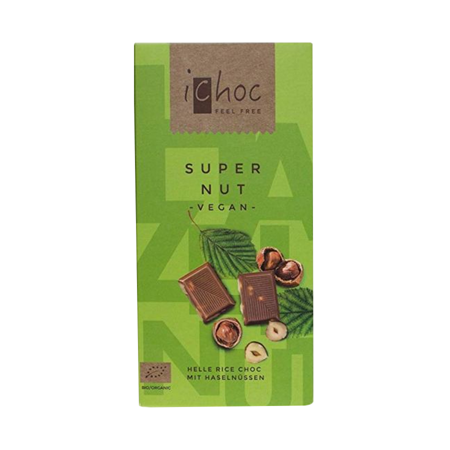 Super Nut | Βιολογική Σοκολάτα από Ρόφημα Ρυζιού με Φουντούκι 80g | Vivani