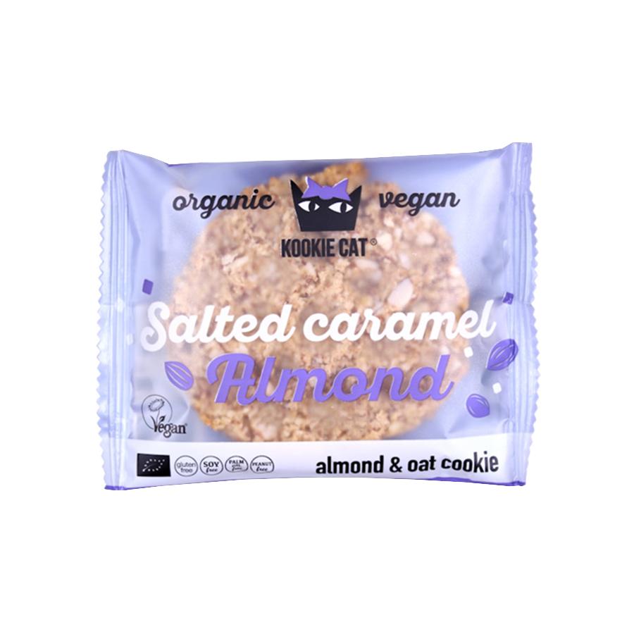 Kookie Cat | Salted Caramel Almond and Oat Cookie 50g | Organic Vegan Snack | Kookie Kat