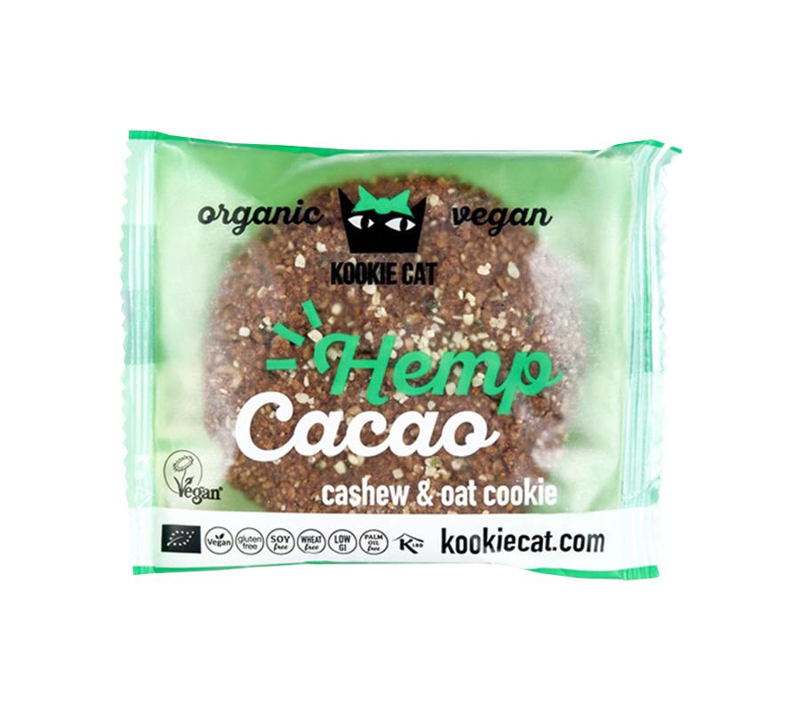 Kookie Cat | Μπισκότο Βρώμης με Σπόρους Κάνναβης και Κακάο 50g | Βιολογικό Μπισκότο Χωρίς Γλουτένη | Kookie Kat