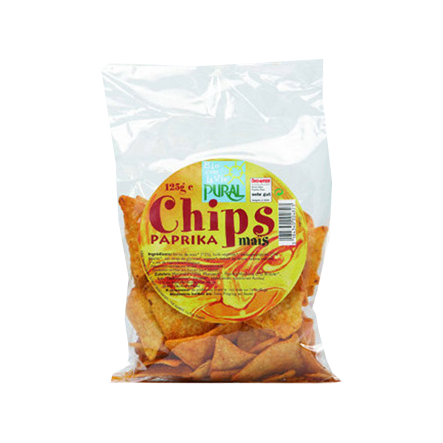 Nachos Τσιπς Καλαμποκιού με Πάπρικα 125g | Βιολογικό Vegan Σνακ Χωρίς Ζάχαρη | Pural