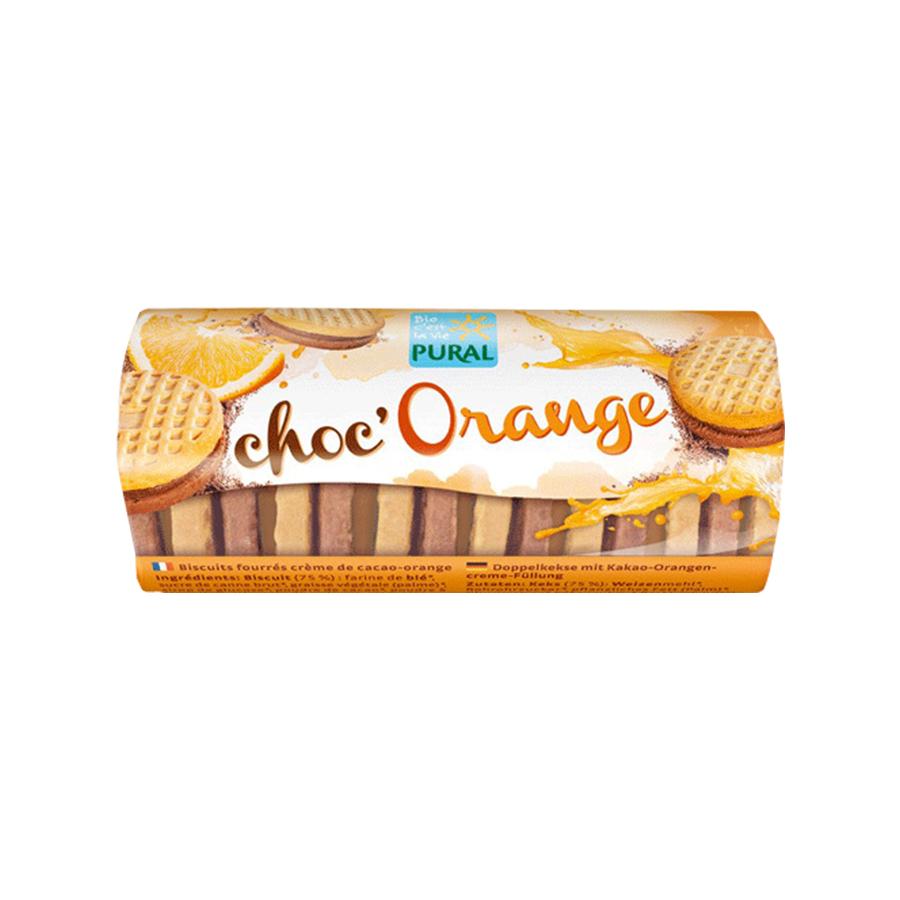 Βιολογικά Γεμιστά Μπισκότα με Γέμιση Σοκολάτα και Πορτοκάλι 85g | Vegan Χωρίς Αυγά Χωρίς Γάλα | Pural