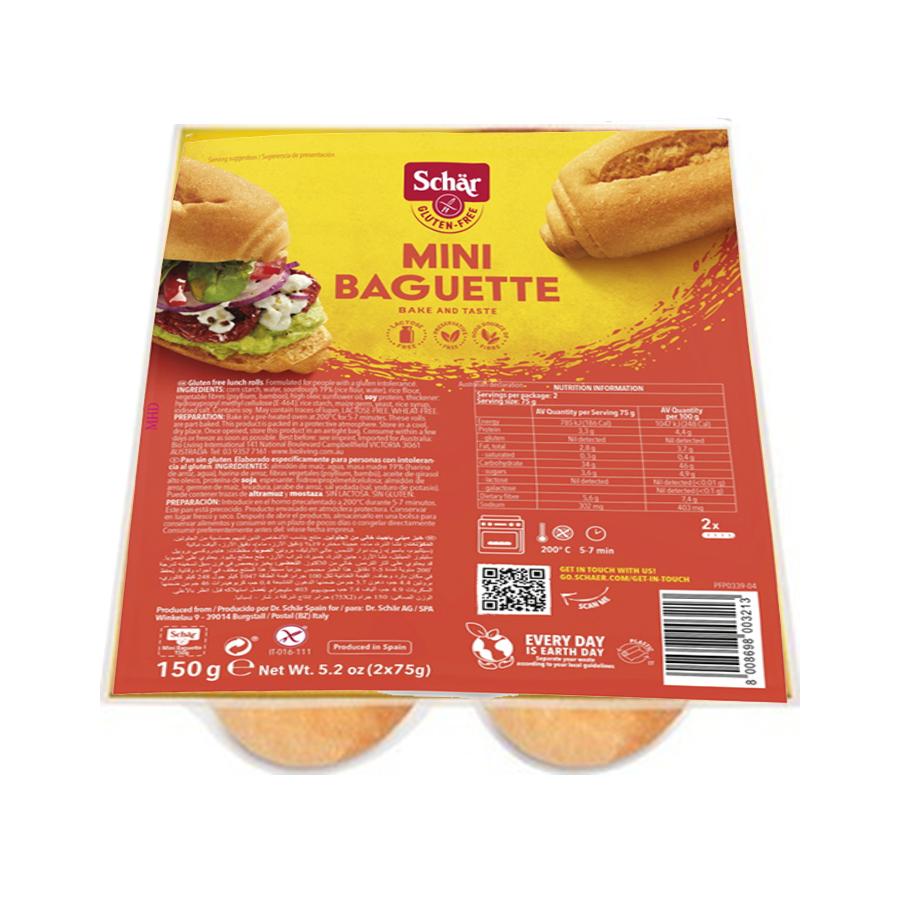 Μπαγκέτες Μίνι Χωρίς Γλουτένη 2τμχ. 150g | Ψωμί Χωρίς Λακτόζη Vegan  | Dr Schar