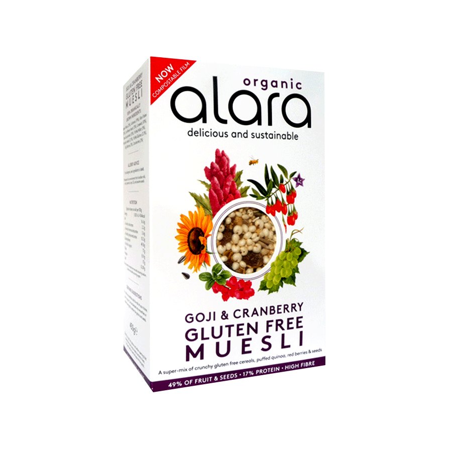 Μούσλι με Goji και Cranberry 450g | Βιολογικά Δημητριακά με Superfoods Υψηλή Πρωτεΐνη Χωρίς Γλουτένη Vegan | Alara