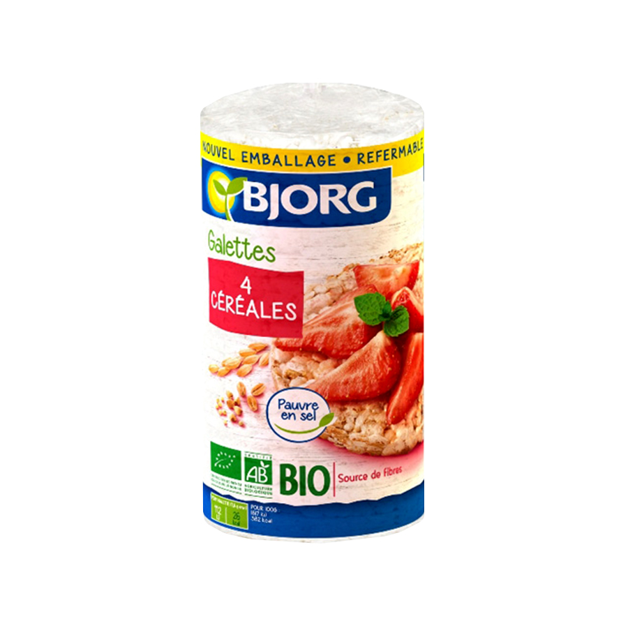 Rice Cakes 4 Cereals 130g   Organic Vegan Snack No Added Sugar   Bjorg