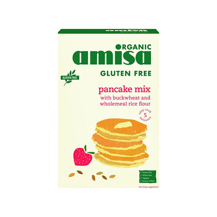 Pancake Mix Gluten Free 2x180g   Organic Vegan No Added Sugar   Amisa