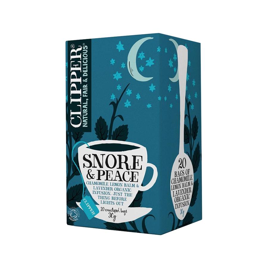 Snore and Peace Εκχύλισμα Χαμομηλιού με Λεμονόχορτο και Λεβάντα 20 φακελάκια 30g | Βιολογικό Vegan Χωρίς Ζάχαρη | Clipper
