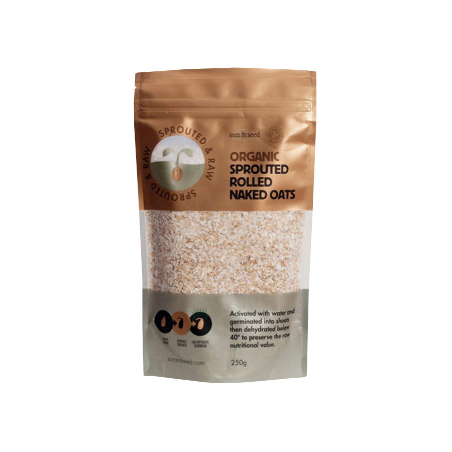 Ωμή Φυτρωμένη Βρώμη 250g | Βιολογική Χωρίς Γλουτένη Vegan | Sun & Seed