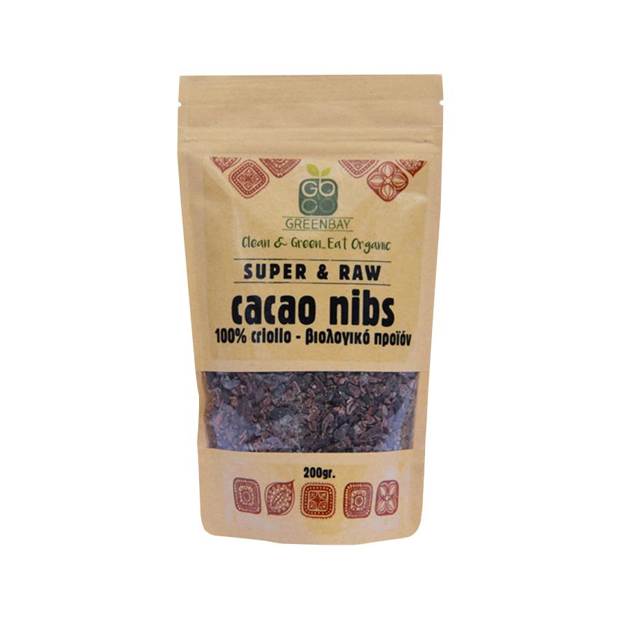 Βιολογικά Ακατέργαστα Κομμάτια Κακάο Cacao Nibs Raw 200g | Vegan Μακροβιοτικά | GreenBay