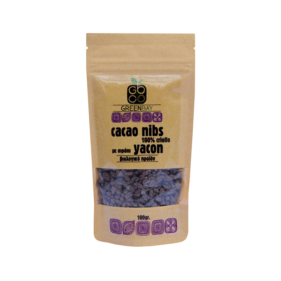 Organic Raw Cacao Nibs Sweetened with Yacon 100g | No Added Sugar Vegan | GreenBay