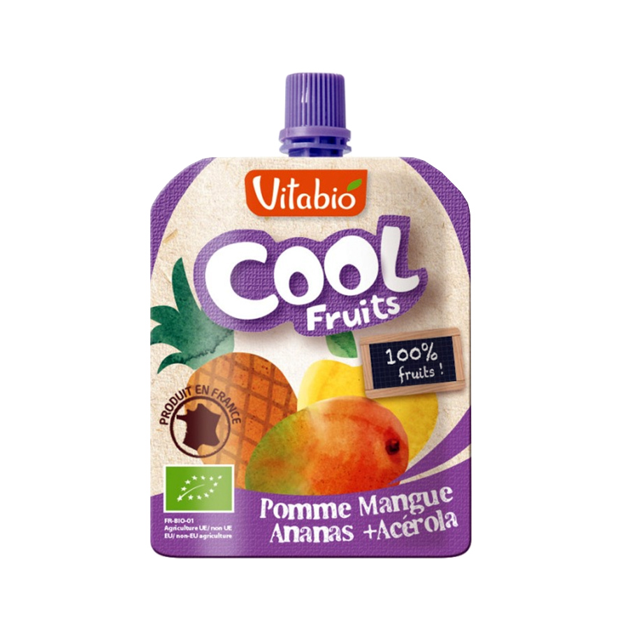Cool Fruits Μήλο Μάνγκο Ανανά Ασερόλα 90g | Βιολογικό Επιδόρπιο Φρούτων Χωρίς Ζάχαρη | Vitabio