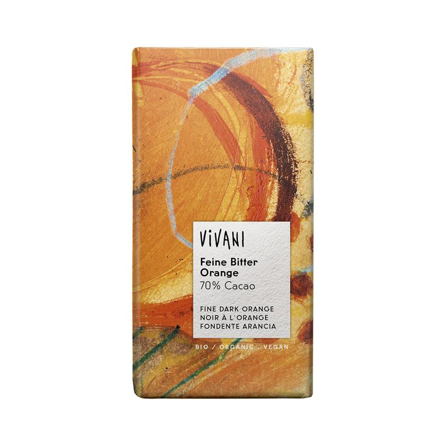 Σοκολάτα Μαύρη με 70% Κακάο και Πορτοκάλι 100g   Βιολογική  Σοκολάτα   Vivani