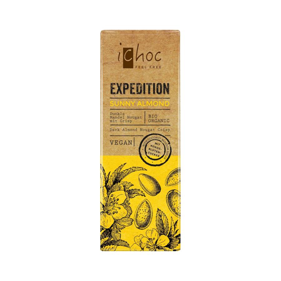 Vegan Dark Chocolate with Nugat, Almonds and Coconut Blossom Sugar 50g | Organic i-choc  Chocolate | Vivani