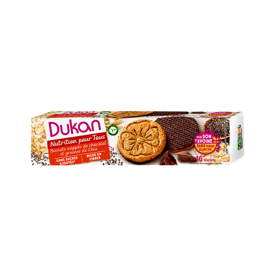 Dukan Μπισκότα Βρώμης με Επικάλυψη Σοκολάτας και Σπόρους Chia 160g | Υγιεινό Σνακ Χωρίς Ζάχαρη Πλούσιο σε Φυτικές Ίνες | Dukan