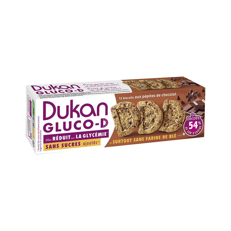 Dukan Μπισκότα Βρώμης GLUCO-D με Κομμάτια Σοκολάτας 100g | Υγιεινό Σνακ Χωρίς Ζάχαρη Πλούσιο σε Φυτικές Ίνες | Dukan