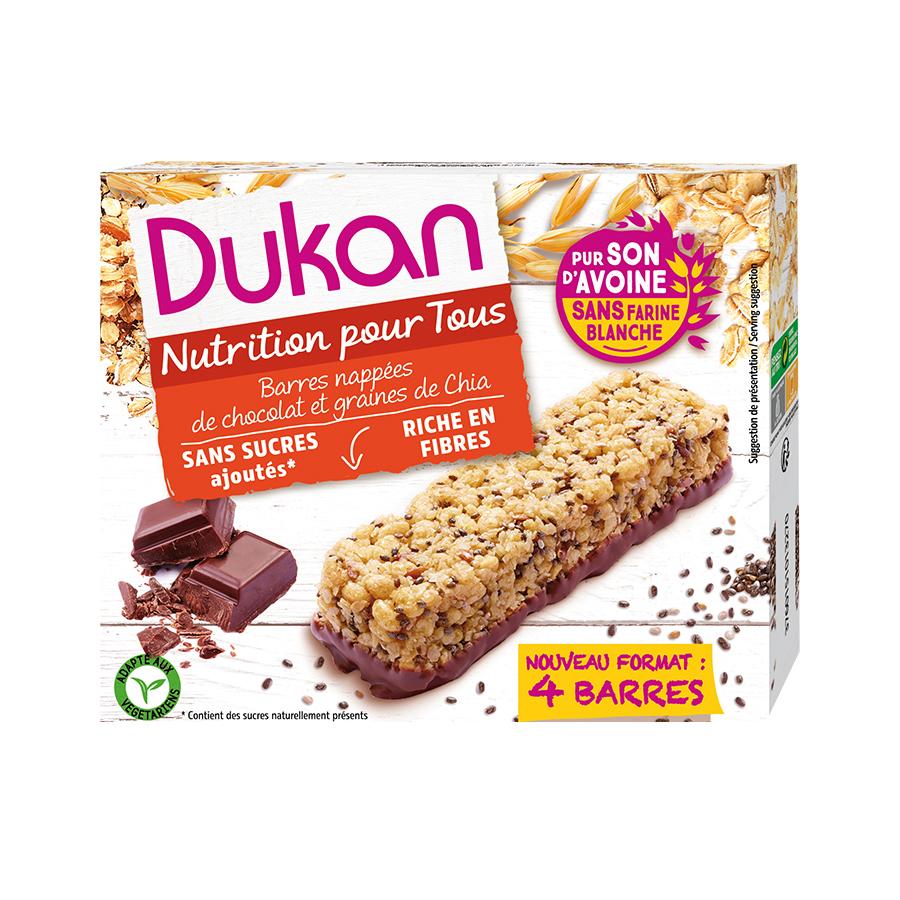 Dukan Μπάρες Βρώμης με Επικάλυψη Σοκολάτας και Σπόρους Chia 111g | Υγιεινό Σνακ Χωρίς Ζάχαρη Χωρίς Λιπαρά | Dukan