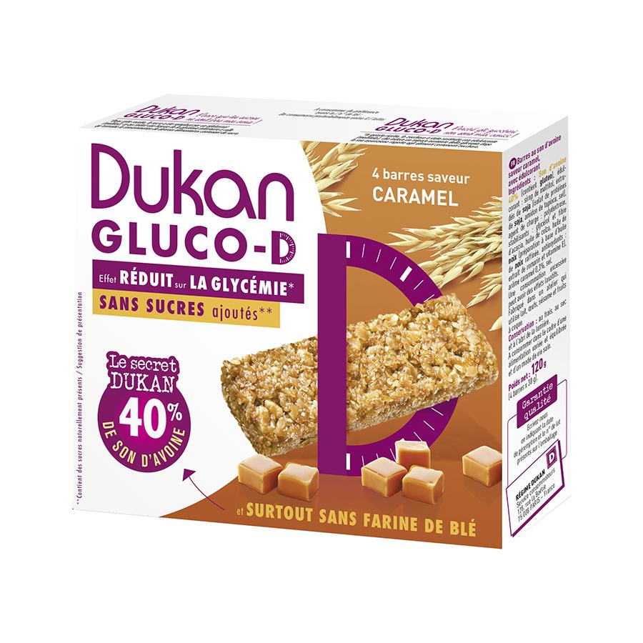 Dukan Μπάρες βρώμης GLUCO-D με Γεύση Καραμέλα 120g | Υγιεινό Σνακ Χωρίς Ζάχαρη Χωρίς Λιπαρά | Dukan