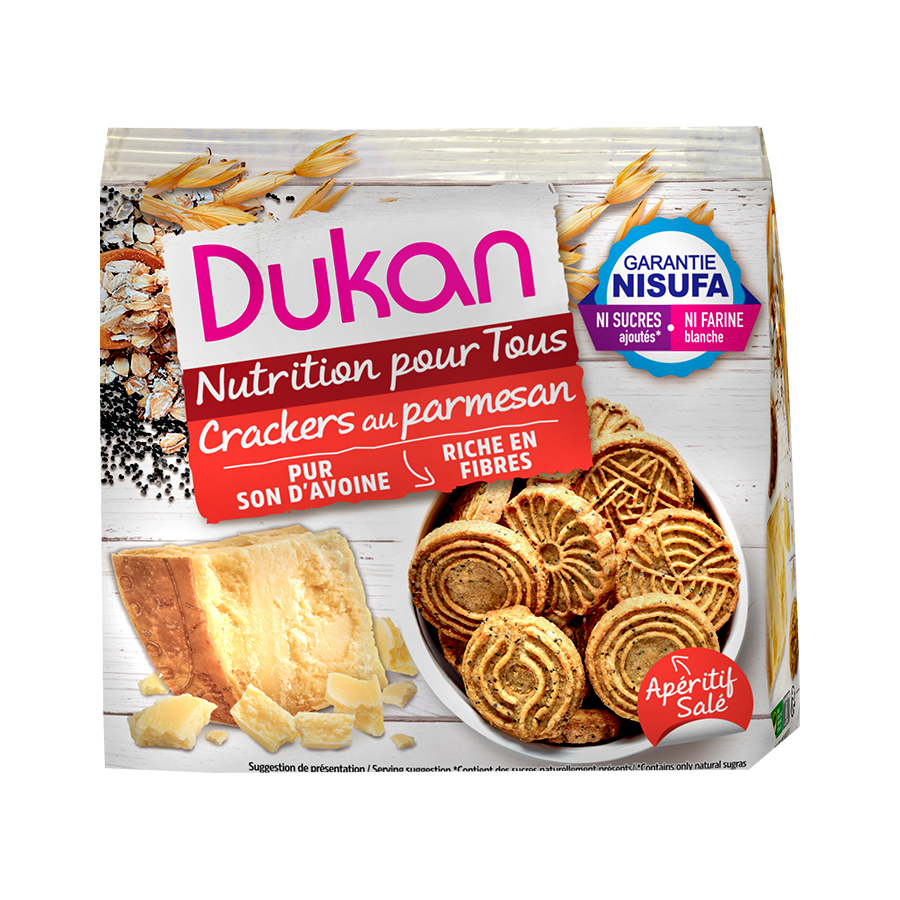 Dukan Κράκερς Βρώμης με Παρμεζάνα 100g | Σνακ Χωρίς Ζάχαρη Πλούσια σε Φυτικές Ίνες | Dukan