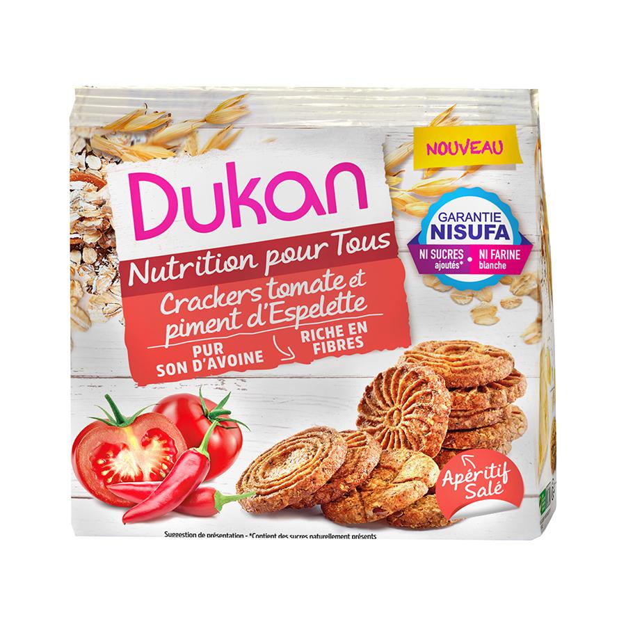 Dukan Κράκερς Βρώμης με Τομάτα και Πιπεριά 100g | Σνακ Χωρίς Ζάχαρη Πλούσια σε Φυτικές Ίνες | Dukan