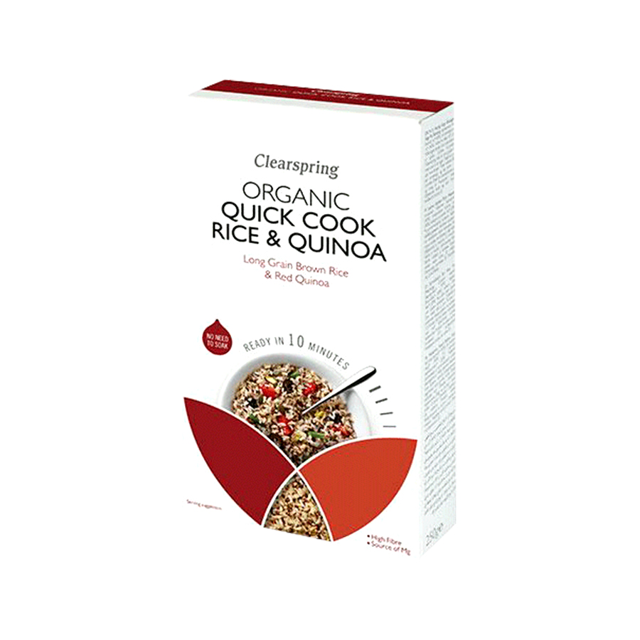 Organic Quick Cook Rice and Quinoa 250g   No Added Sugar No Added Salt Vegan Vegetarian   Clearspring