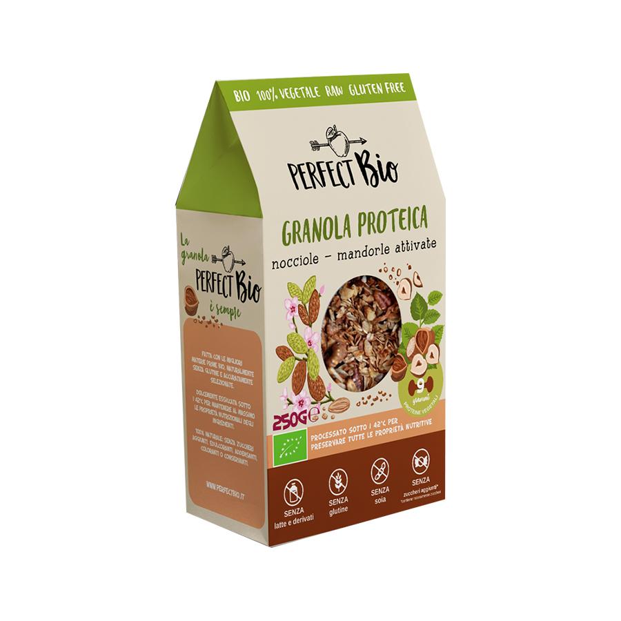 Granola Πρωτεΐνης με Φουντούκια και Αμύγδαλα 250g | Ωμά Βιολογικά Δημητριακά Χωρίς Γλουτένη | Perfect Bio