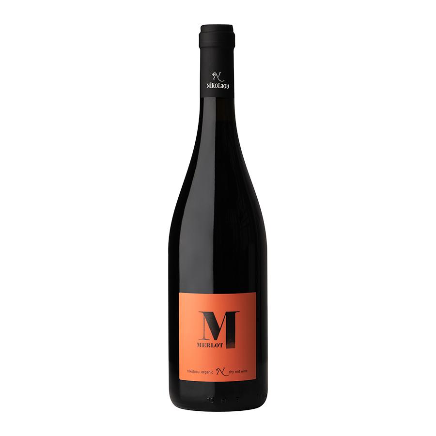 Merlot Nikolaou   Varietal Organic Dry Red Wine Merlot (2019) 750ml   Domaine Nikolaou