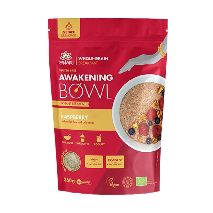 Awakening Bowl με Σμέουρα 360g | Vegan Μείγμα Για Πρωινό Βιολογικό  Χωρίς Γλουτένη | Iswari