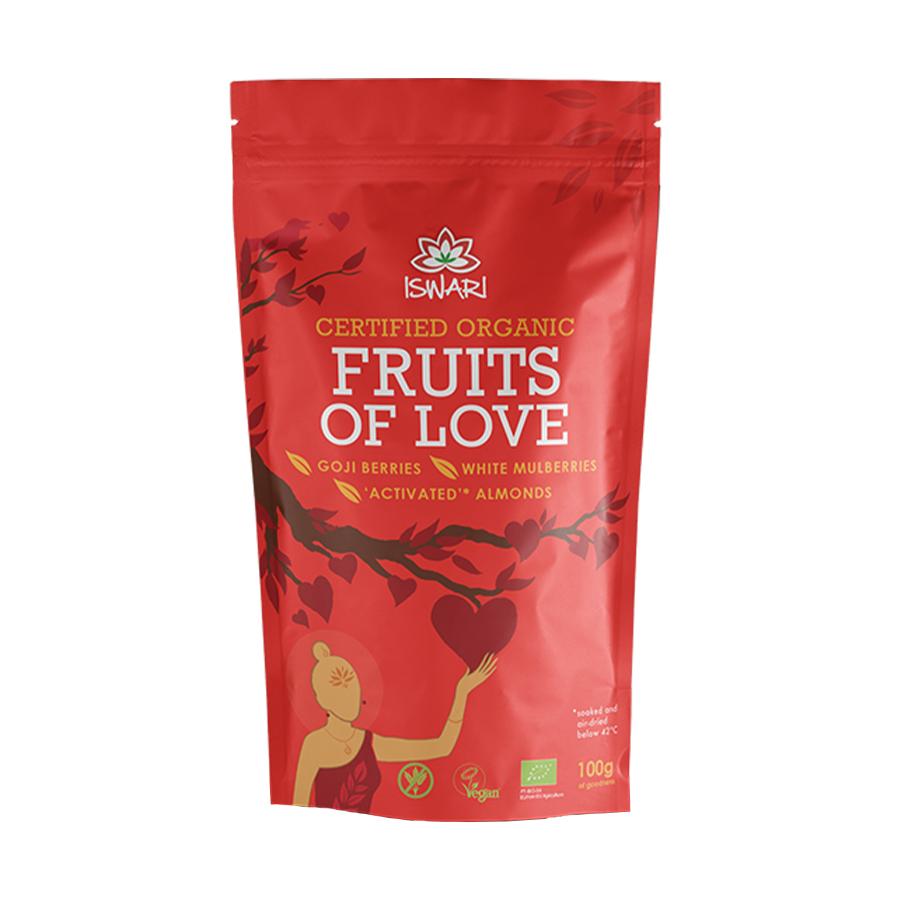 Fruits of Love Mix of Almonds Goji Berries and Mulberries 100g | Organic Vegan Gluten Free | Iswari