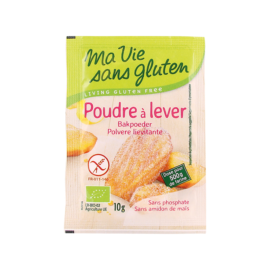 Βιολογικό Μπέϊκιν Πάουντερ Χωρίς Γλουτένη 4x10g | Vegan Χωρίς Λακτόζη | Ma Vie Sans Gluten