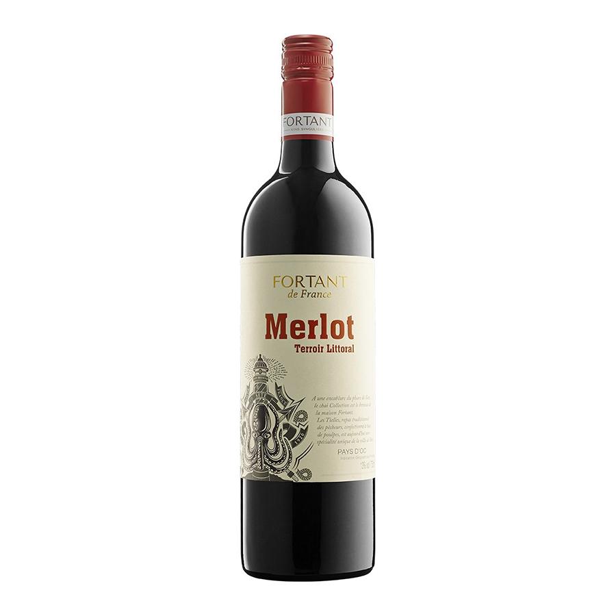 Fortant Merlot Terroir Littoral | IGP Pays d' Oc Dry Red Wine (2019) 750ml | Fortant de France