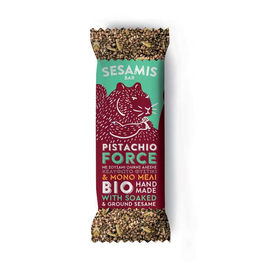 Sesamis Bar Pistachio Force με Φυστίκι & Mέλι ΒΙΟ 40g | Χειροποίητη Μπάρα Δημητριακών και Ξηρών Καρπών με Μέλι Χωρίς Ζάχαρη | Φ. Choice