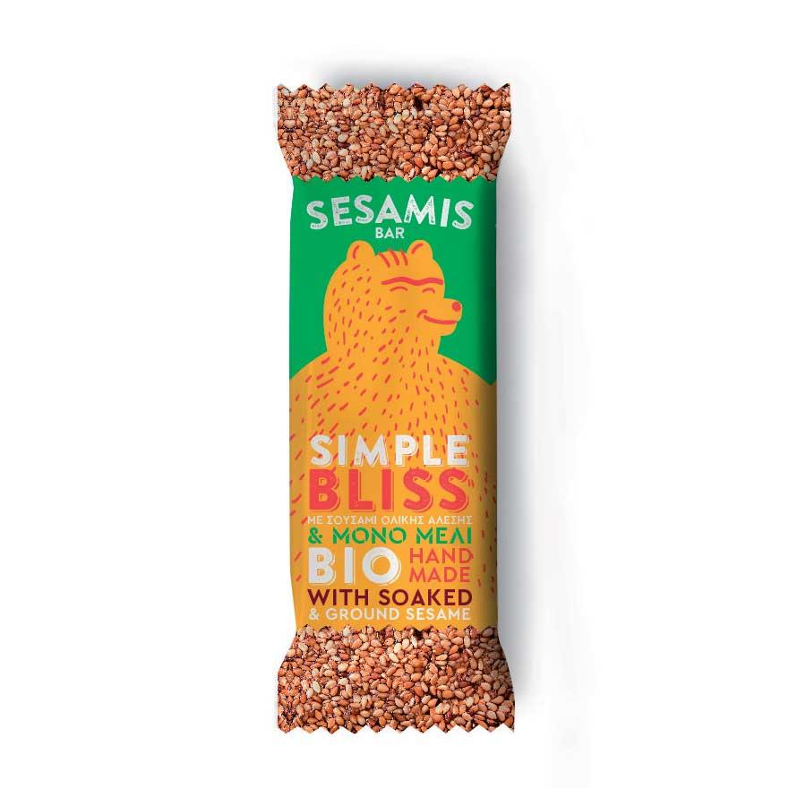 Sesamis Bar με Σουσάμι ΒΙΟ 40g | Χειροποίητη Μπάρα Δημητριακών και Ξηρών Καρπών με Μέλι Χωρίς Ζάχαρη | Φ. Choice