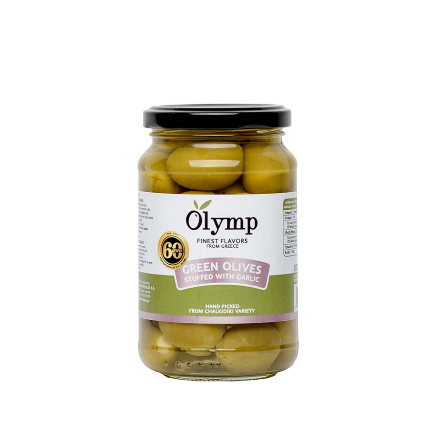 Πράσινες Ελιές Χαλκιδικής Γεμιστές με Σκόρδο 200g - Olymp
