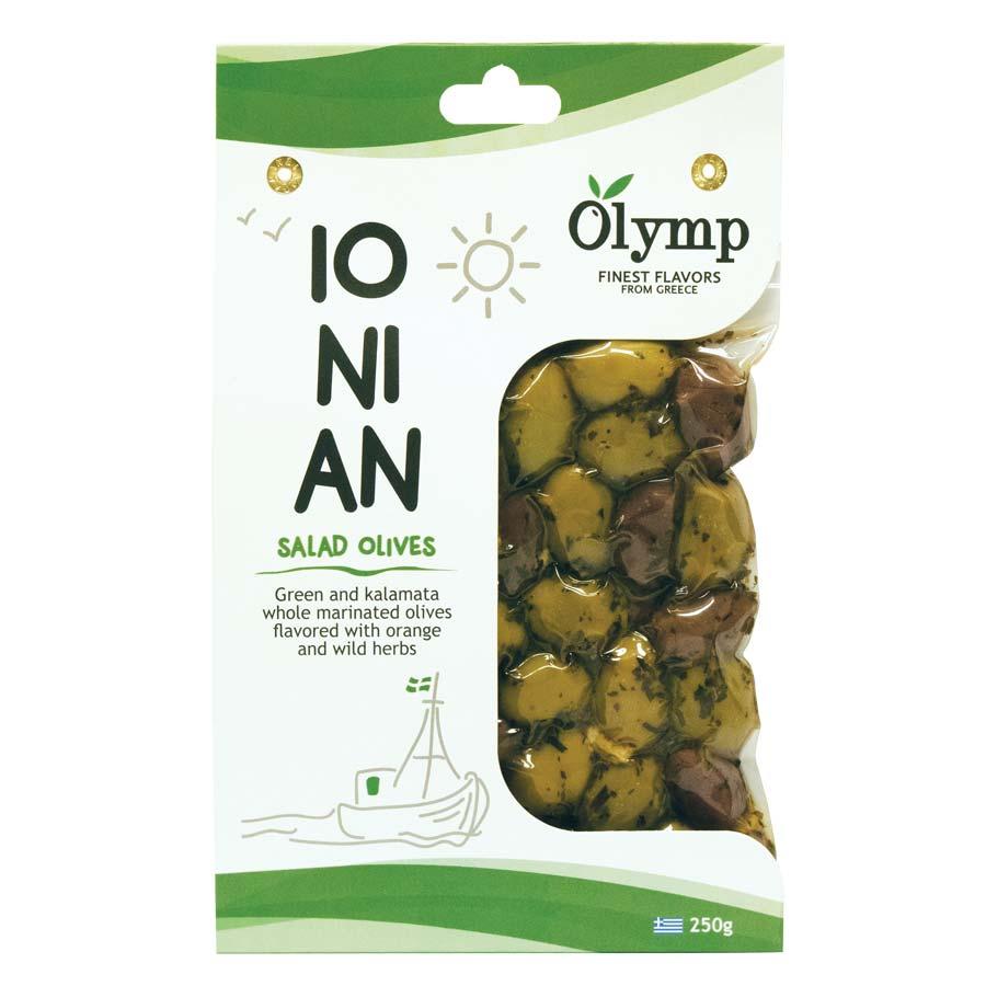 Μαριναρισμένες Ελιές Πράσινες & Καλαμών Ionian 250g - Olymp