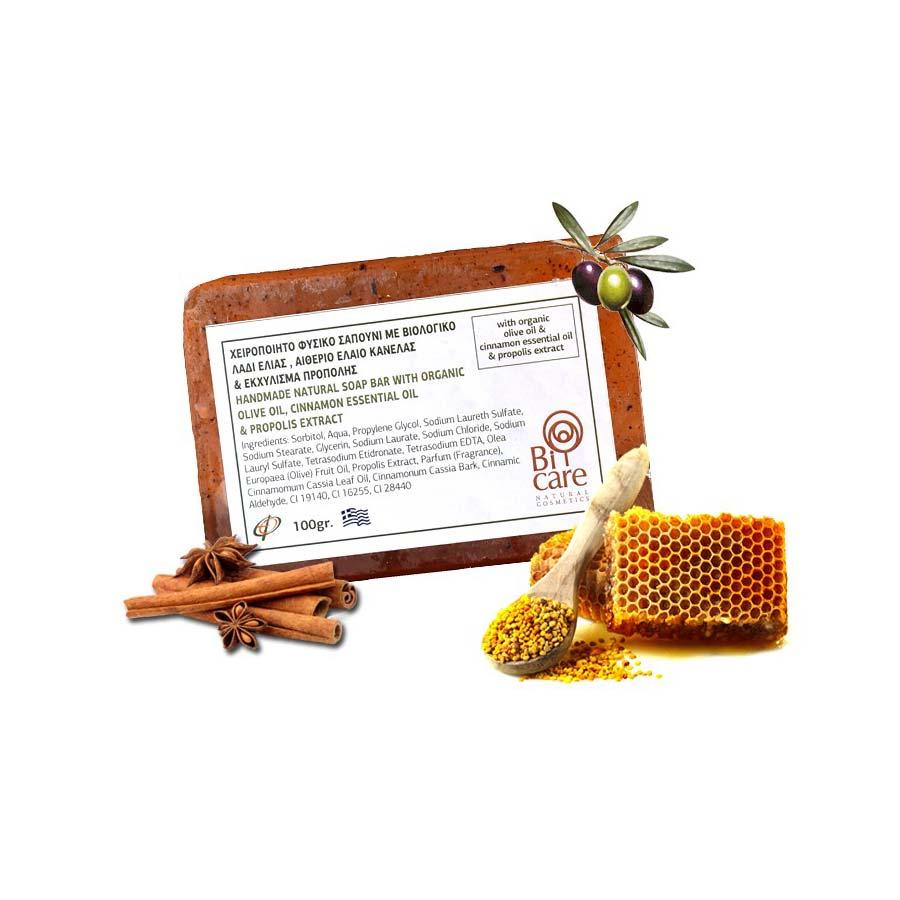 Bi-Care Χειροποιήτο Φυσικό Σαπούνι με Βιολογικό Λάδι Ελιάς Πρόπολη & κανέλλα 100g - Αγρόκτημα Ευκαρπ