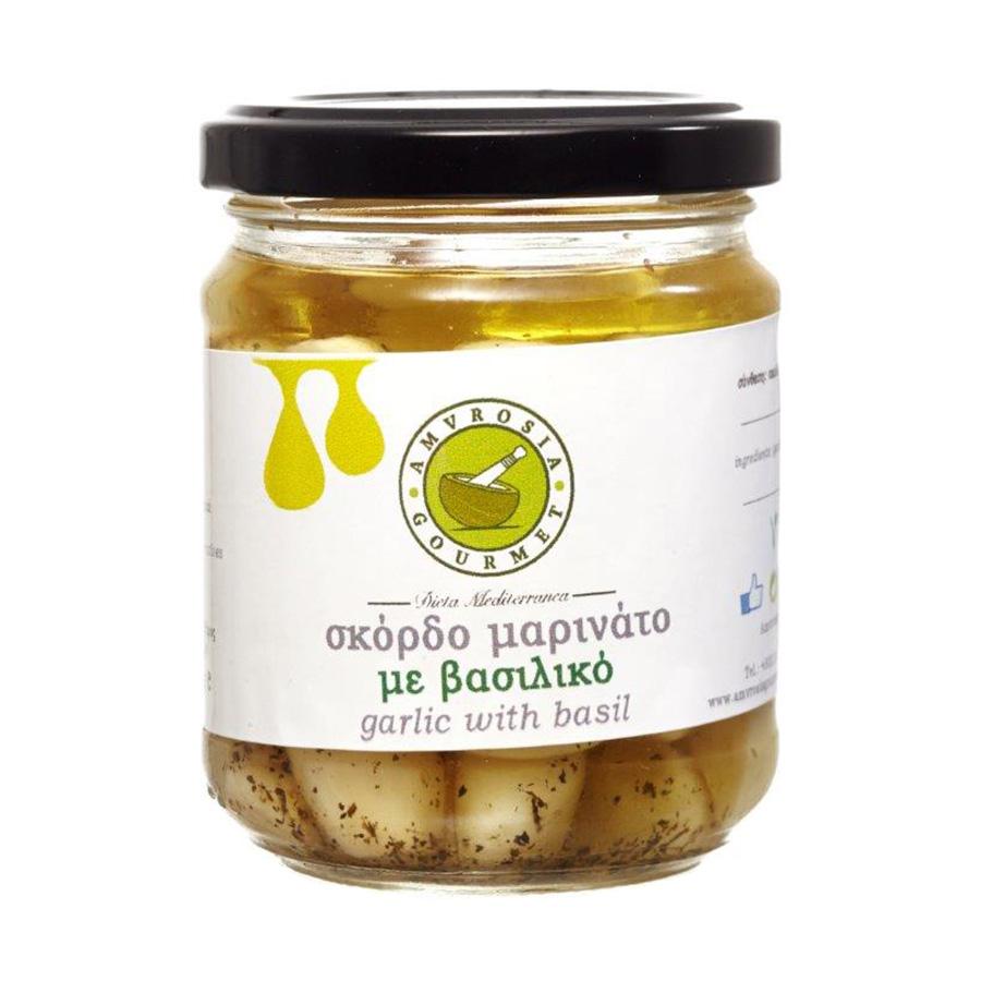 Σκελίδες Σκόρδου με Βασιλικό 180g - Amvrosia Gourmet