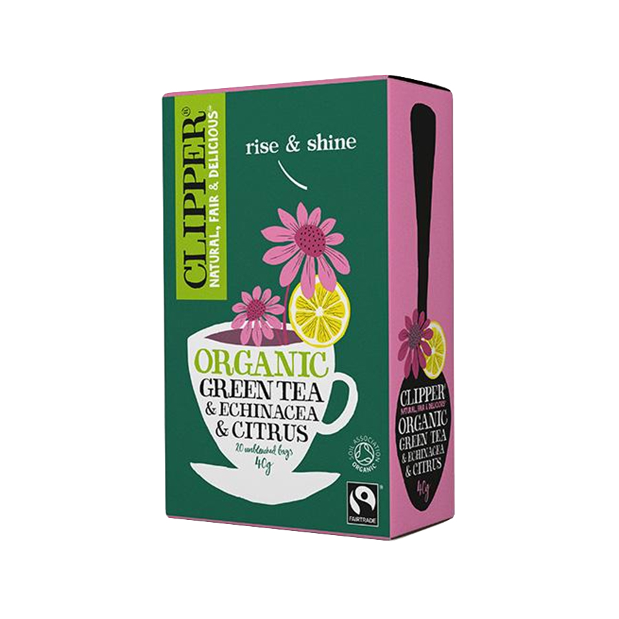 Βιολογικό Πράσινο Τσάι με Εχινάτσια Χωρίς Ζάχαρη (20 φάκ.) 40g | Clipper
