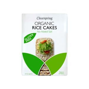 Organic Wholegrain Rice Cakes No Added Salt 130g | Gluten Free Vegan Snack | Clearspring
