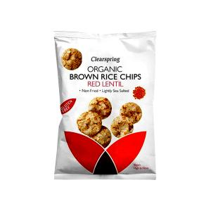 Organic Brown Rice Chips with Red Lentil 60g | Gluten Free Vegan Snack Lightly Salted | Clearspring