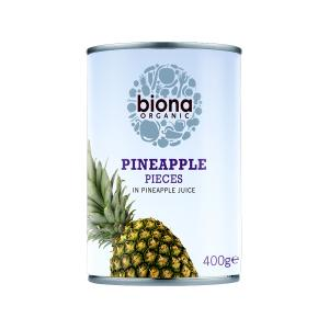 Pineapple Pieces in Pineapple Juice 400g | Organic Vegan No Sugar | Biona