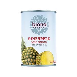 Pineapple Mini Rings in Pineapple Juice 400g | Organic Vegan No Sugar | Biona