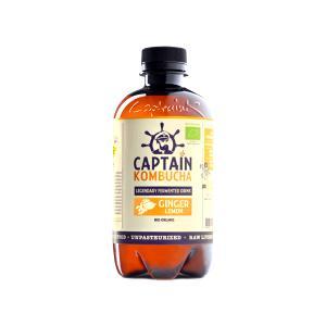 Βιολογικό Ανθρακούχο Ποτό Κομπούχα Γεύση Τζίντζερ 400ml | Raw Vegan Κεφίρ Τσαγιού Χωρίς Γλουτένη | Captain Kombucha