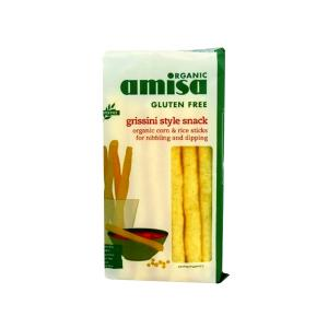 Rice and Corn Breadsticks 100g | Gluten Free Organic Vegan Snack No Added Sugar | Amisa