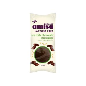 Rice Cakes with Rice Milk Chocolate 100g | Gluten Free Organic Vegan Snack Lactose Free | Amisa