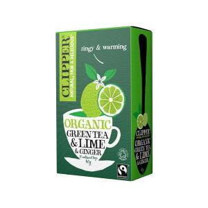Green Tea with Lime and Ginger 20 bags 40g | Organic Vegan No Added Sugar | Clipper