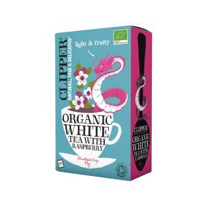 White Tea with Raspberry 26 bags 45g | Organic Vegan No Added Sugar | Clipper