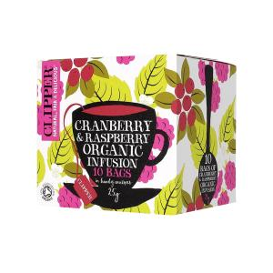 Cranberry and Raspberry Infusion 10 bags 25g | Organic Vegan No Added Sugar | Clipper