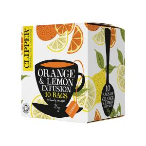 Orange and Lemon Infusion 10 bags 25g | Organic Vegan No Added Sugar | Clipper